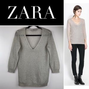 Zara Sparkling Grey Mohair Vneck Sweater Medium